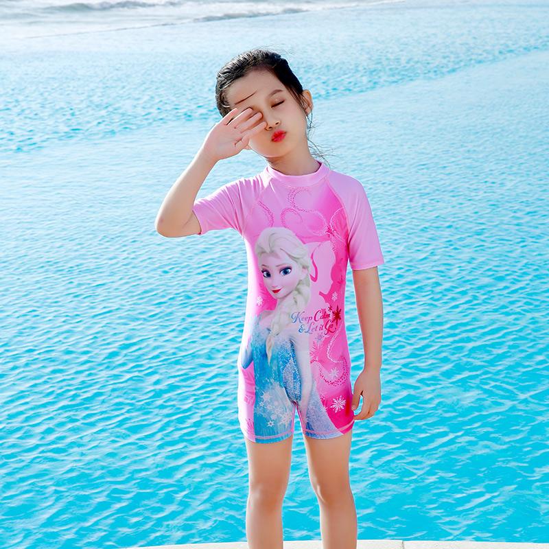 迪士尼儿童泳衣女童连体小中大童游泳衣冰雪奇缘公主宝宝防晒泳装