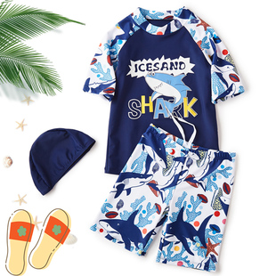 儿童游泳衣男连体长袖沙滩防晒可爱卡通分体泳裤温泉小孩速干小童