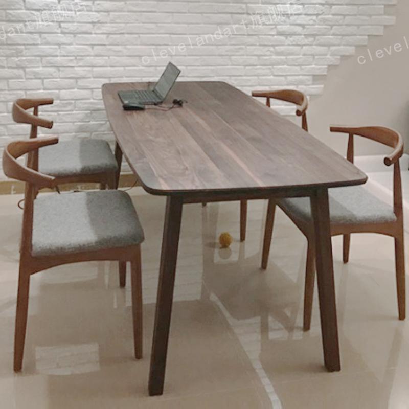 北美黑胡桃木实木餐桌 工作台北欧风格简约现代 原木大板电脑桌