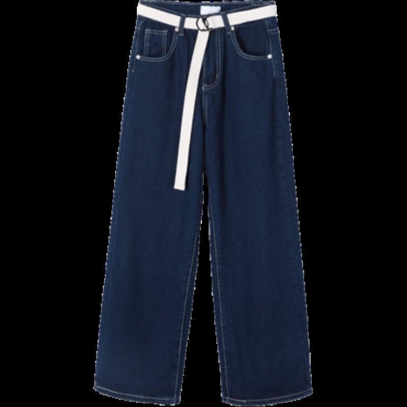 3IDOLIMITED送腰带韩版高腰设计宽松休闲阔腿拖地长裤牛仔裤女L