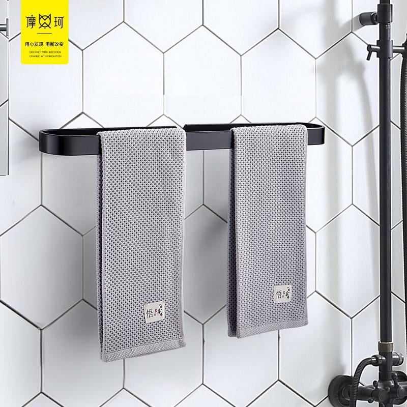 免打孔太空铝毛巾双杆卫生间凉毛巾架洗手间挂件浴室毛巾杆单杆