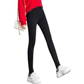 怡斐尚高腰加绒加厚小脚裤女冬季新款黑色铅笔裤松紧腰外穿打底裤