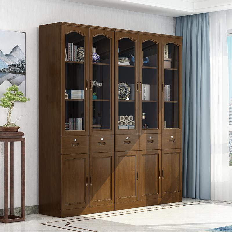 简约现代中式实木书柜23门书柜带玻璃门书架自由组合橡胶木置物柜