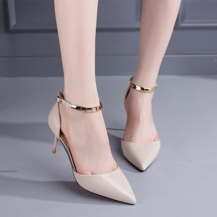 尖头高跟鞋细跟性感单鞋女鞋工作2017春季新款韩版一字扣中空裸色
