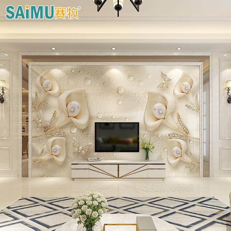 赛牧电视背景墙瓷砖 现代简约客厅3D微晶石欧式大气简欧装饰造型