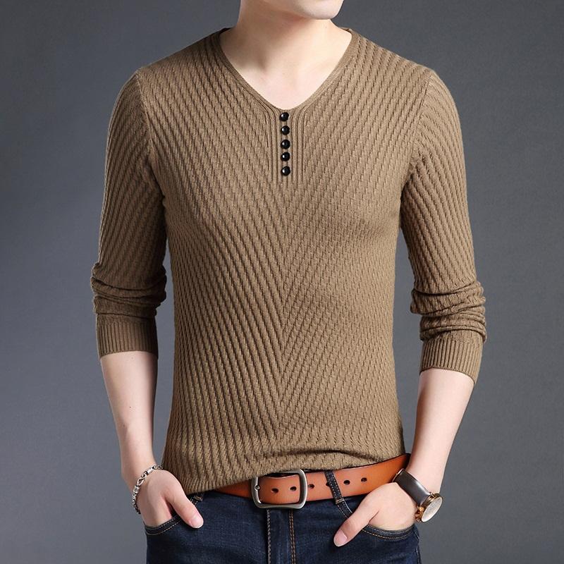 LAKECY/莱克茜男士毛衣针织衫韩版修身纯色轻薄款时尚长袖青年上