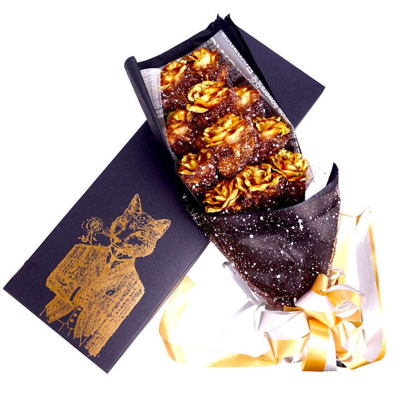 金玫瑰花 情侣金箔玫瑰花创意送女友花束七夕礼物情人节生日