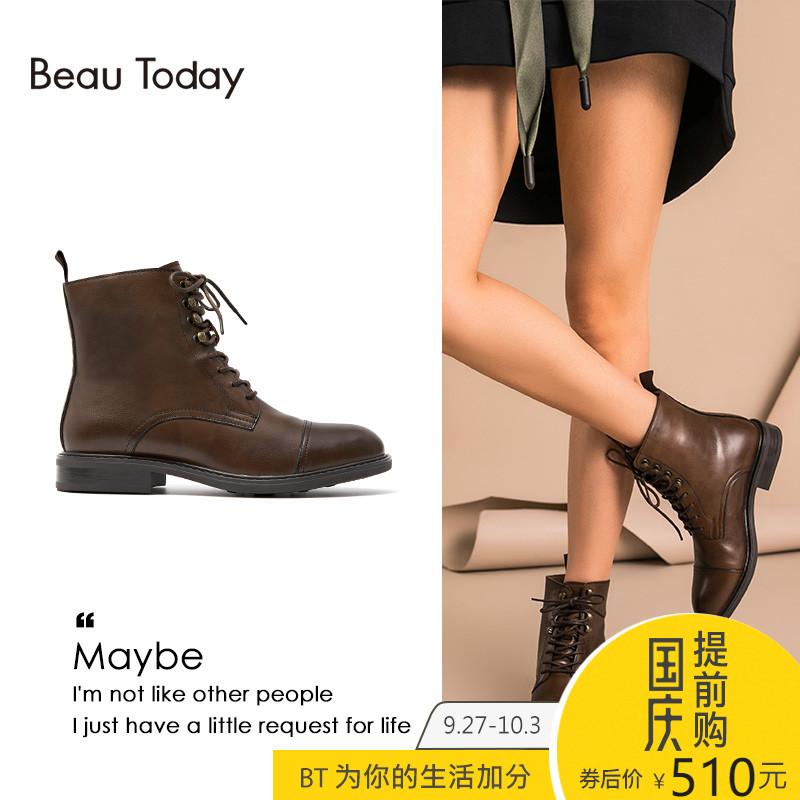 BeauToday新款2018秋冬季粗跟马丁靴女真皮英伦风短靴平底靴子女