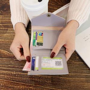 女士钱包女短款日撞色简约信封学生钱夹卡包零钱包潮