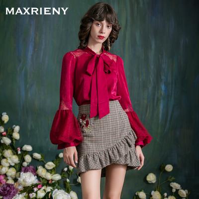 MAXRIENY 冬季新品 性感蕾丝长袖拼接蝴蝶结上衣女