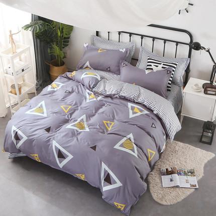 纯色磨毛四件套1.8m被套学生宿舍床单三件套简约1.2米床上用品