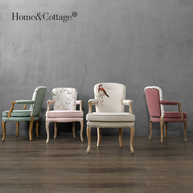 HC 欧美式乡村复古橡木架沙发椅 阳台新古典梳妆休闲围椅扶手餐椅