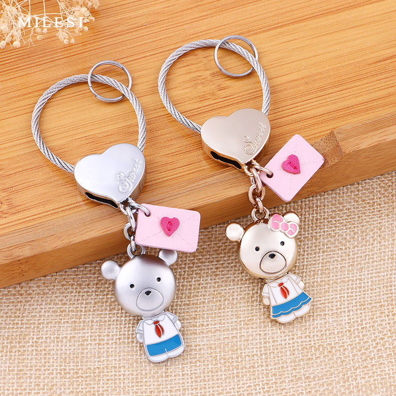 Couple keychain a pair of creative car key chain men and women Korean cute literary small fresh bag pendant
