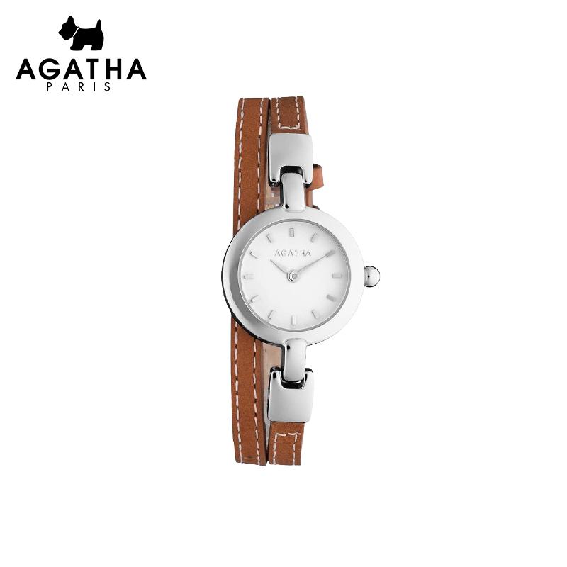 AGATHA多色圆盘皮质双圈表带时尚手表 潮流金属商务OL女士