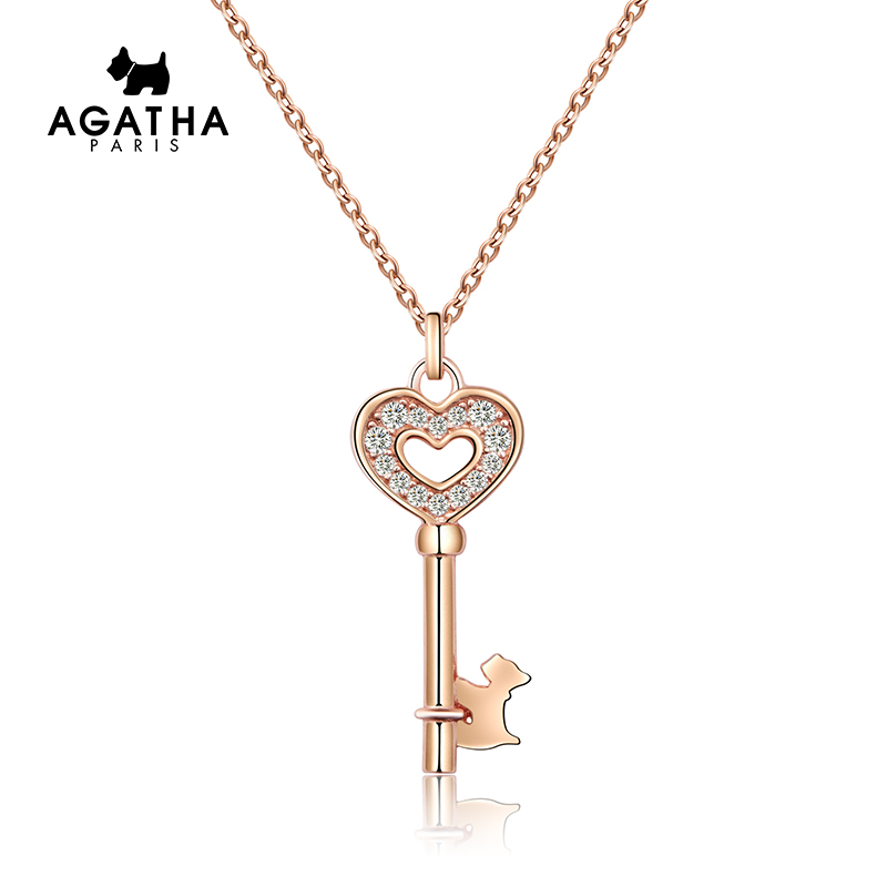 AGATHA 925银爱心钥匙吊坠小狗锁骨链简约大方气质个性首饰项链女