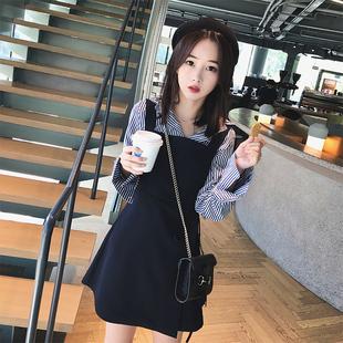 23衬衫配裙子2018春夏新款女装韩版chic港味两件套装娇小学生背带