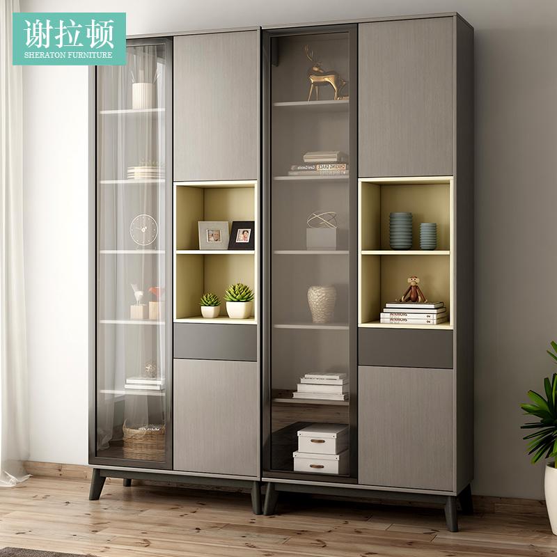 北欧简约现代组合书柜组装简易书架双门书柜两门收纳置物柜