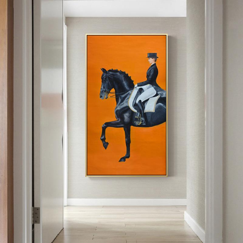 我的大黑马玄关装饰画美式走廊过道马竖版骑士法式爱马仕橙色墙画