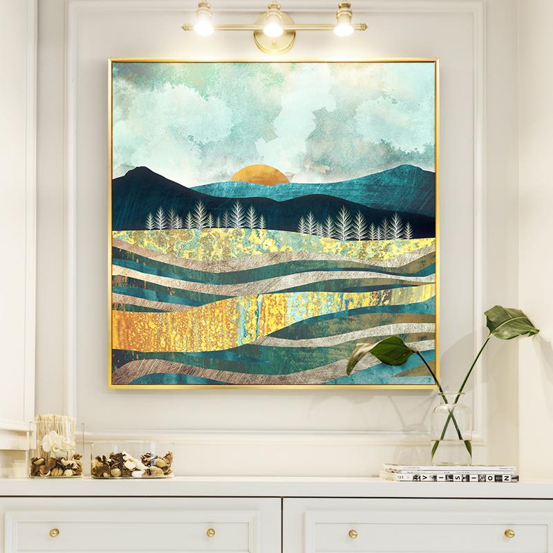 日出彩绘客厅装饰画森林抽象餐厅玄关走廊大画正方形现代墙画麋鹿