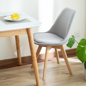 北欧伊姆斯椅子实木餐椅现代简约办公洽谈会议布艺成人家用靠背椅