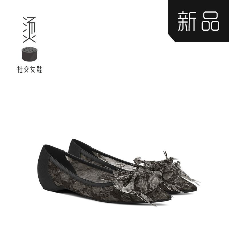烫社交女鞋2018秋季新款黑色蕾丝蝴蝶结平底尖头单鞋浅口时尚女鞋
