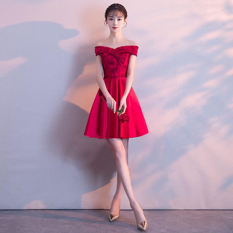 新娘敬酒服2018新款红色性感一字肩结婚晚礼服女夏季修身显瘦短款