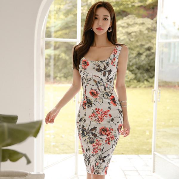 7986#【高档女装】马来西亚台湾女装衣服服装批发印花时尚中长款无袖修身连衣裙高档裙子