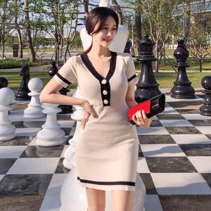 7799#【高档女装】2018夏装新款韩版女装OL气质V领短...