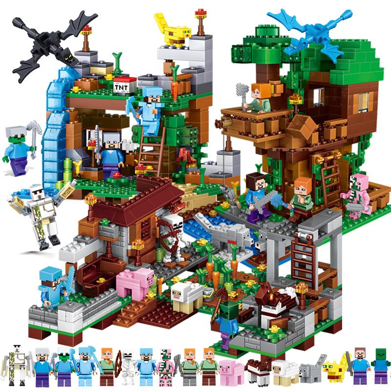 我的世界樂高男孩子拼装小颗粒积木7村庄农场8儿童益智玩具6-10岁