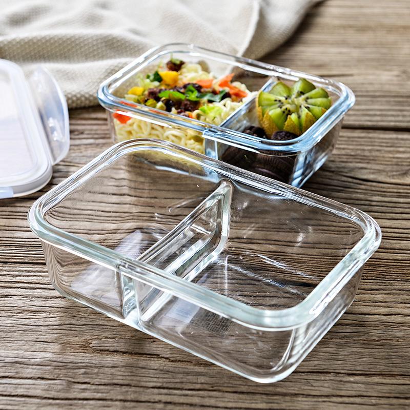 上班族微波炉加热玻璃饭盒