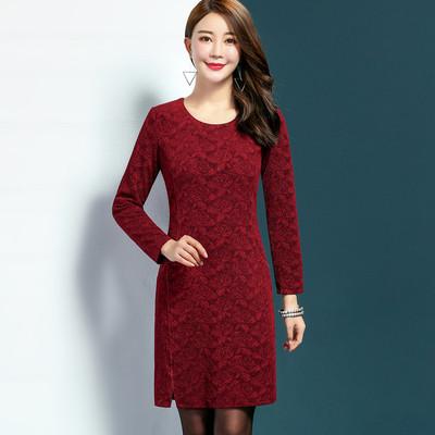中老年女装春秋装长袖中长款纯色30-40-50岁秋装中年妈妈装连衣裙