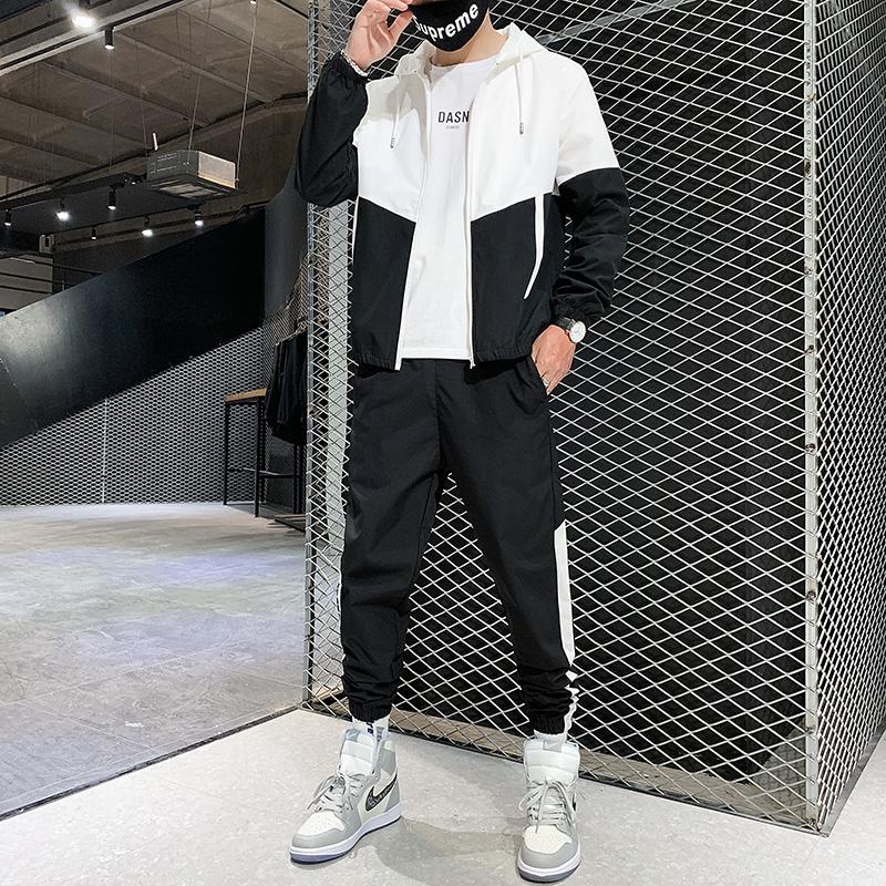 青年男士连帽开衫运动套装2020秋季新款反光条套装工装夹克外套男