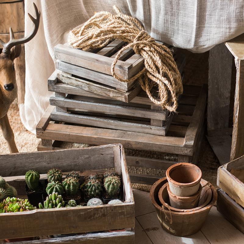 掬涵 自然生长青苔 红陶素烧陶花盆 木盒套装 素朴日式风格花园