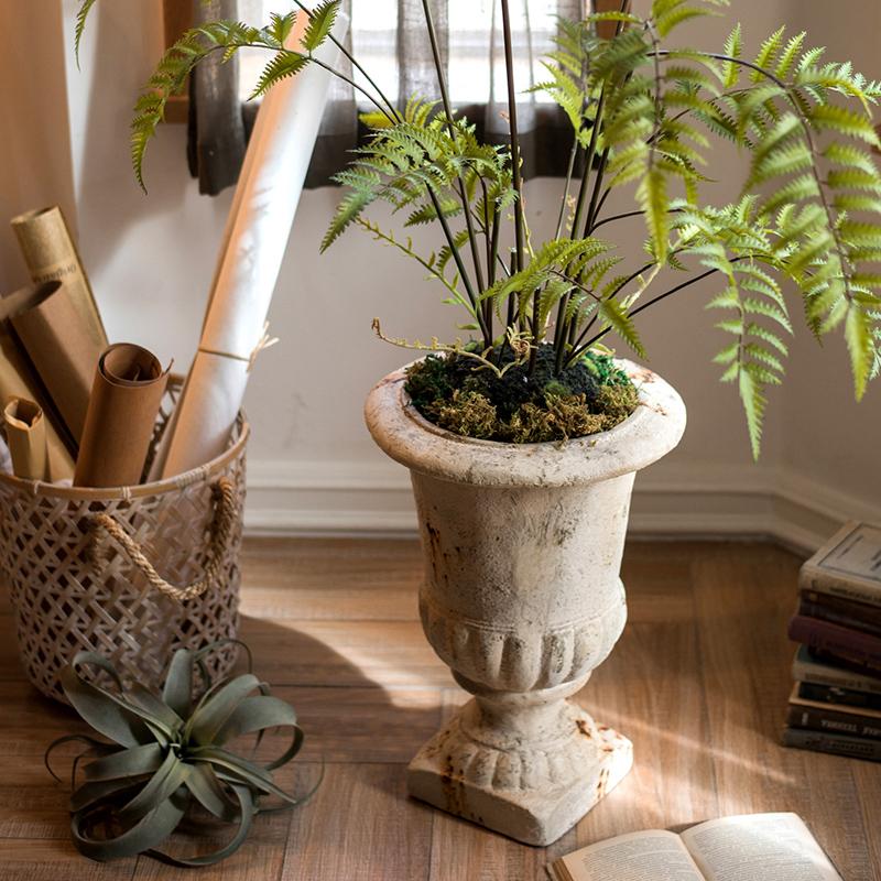 掬涵 古旧锈痕罗马柱盆大型花盆花瓶装饰摆件庭院花园橱窗陈列