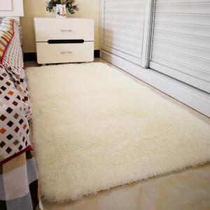 北欧宜家长方形白色长毛绒卧室床边床前客厅茶几地毯定制满铺地毯