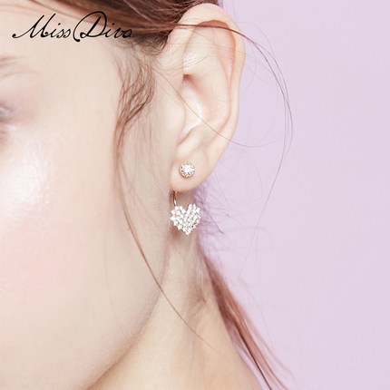 Women's Earrings love heart-shaped earrings female 2018 new simple earrings Korean short hair ear jewelry