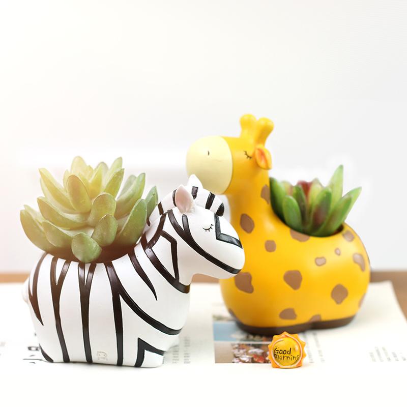 创意zakka田园可爱长颈鹿熊猫多肉搭配花盆花园桌面装饰摆件礼品