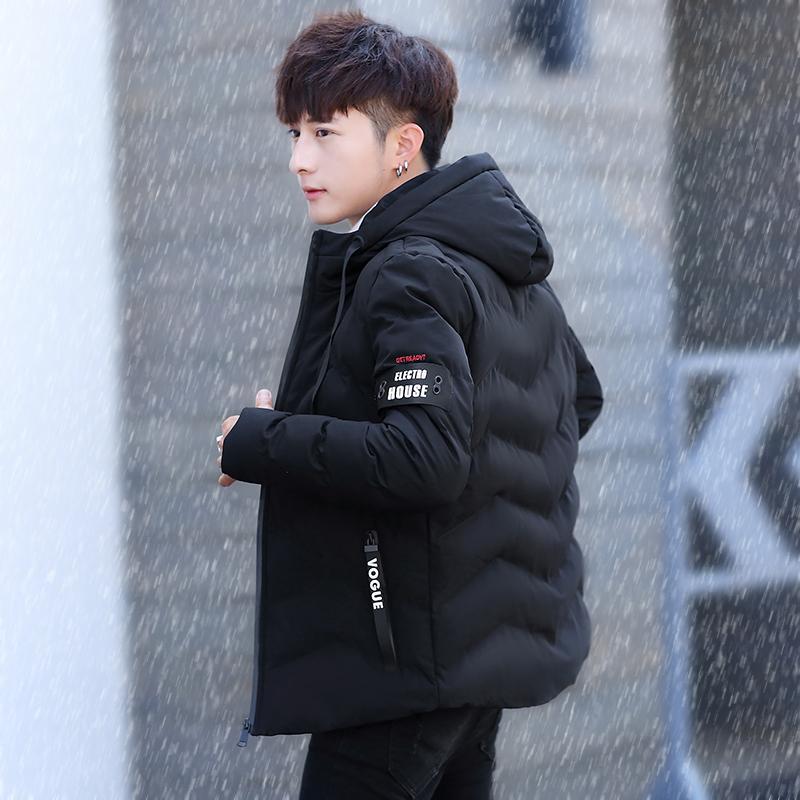 棉衣男士秋冬季连帽修身青少年学生冬装加厚棉袄短款羽绒棉服外套