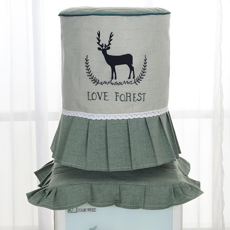 田园饮水机罩卡通饮水机套2件套客厅时尚清新布艺饮水桶套防尘罩