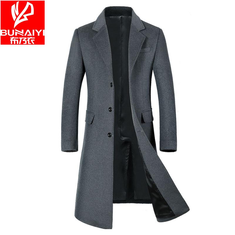 布乃衣秋冬新款羊毛呢大衣男呢子外套加厚中青年呢绒超长过膝风衣