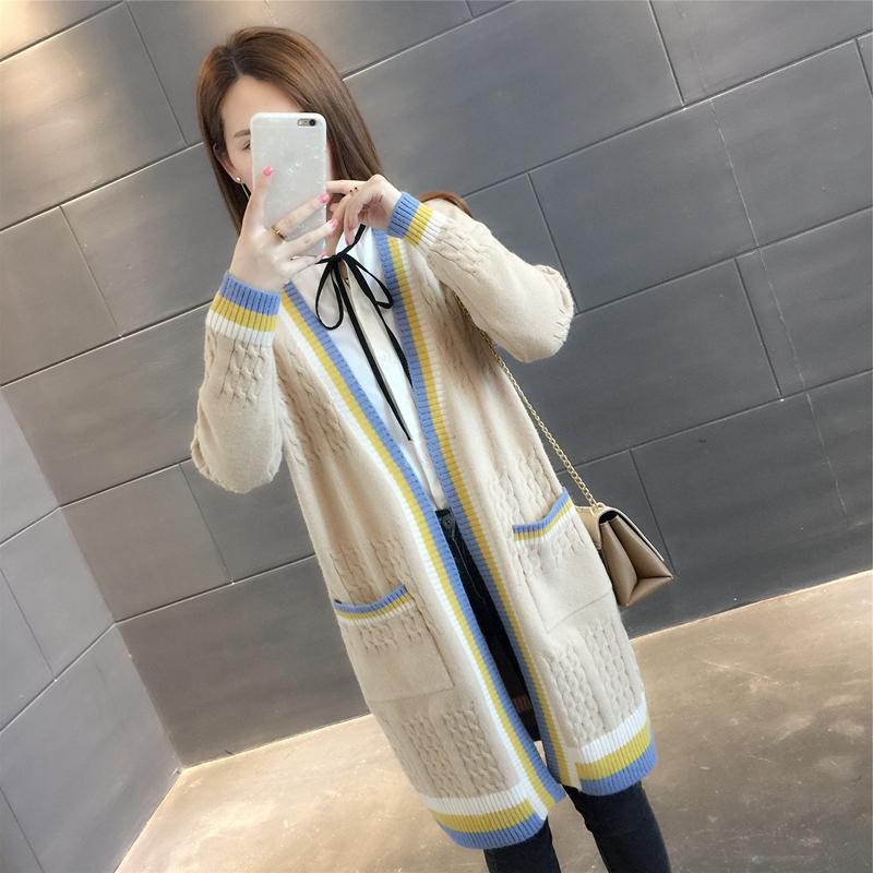 2018秋装新款中长款宽松百搭口袋针织衫外套长袖条纹毛衣女开衫