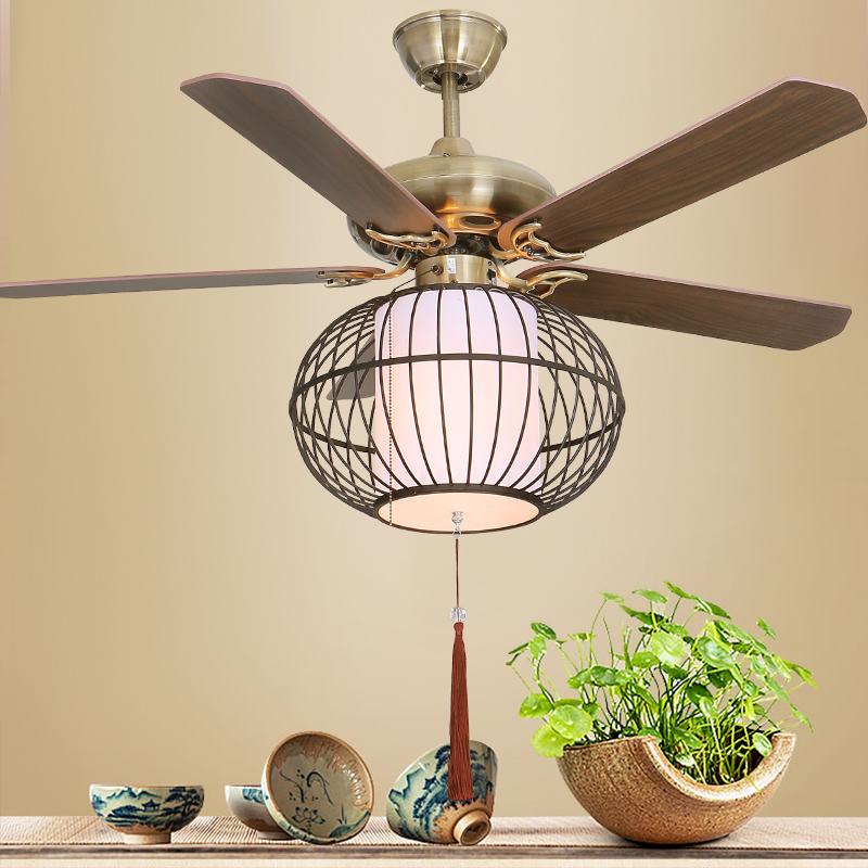 新中式吊扇灯 客厅餐厅卧室风扇灯木叶静音灯笼LED变光电风扇吊灯