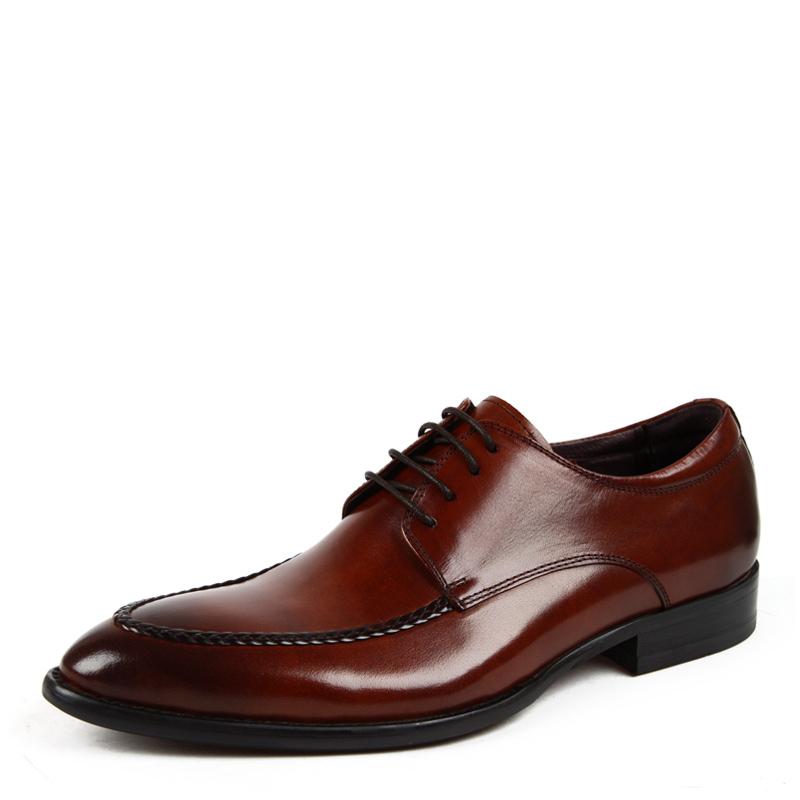 村哥牛皮正装皮鞋男士商务休闲鞋真皮欧版男鞋英伦潮鞋尖头婚鞋子