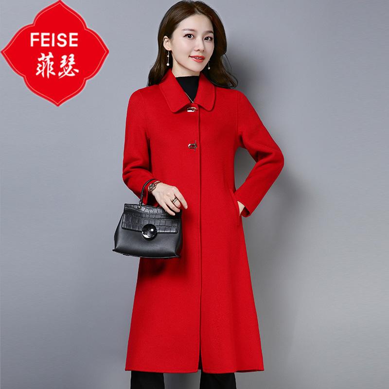 反季双面羊绒大衣女中长款2018新款秋冬欧美修身显瘦过膝毛呢外套