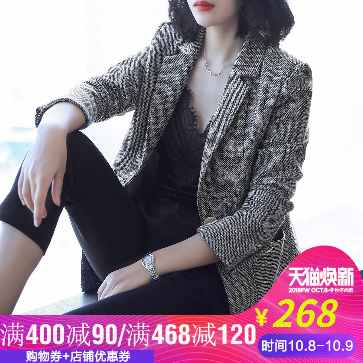 2018秋装新款长袖小西装女外套休闲显瘦韩版女士中长款OL格子西服