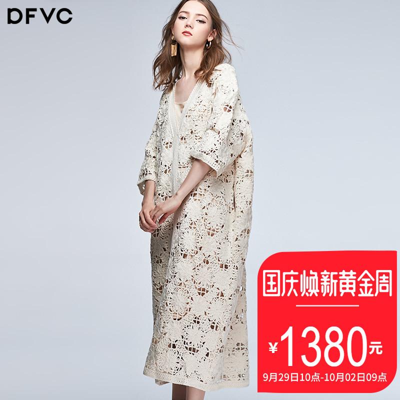 dfvc2018秋季新款欧美白色勾花镂空蕾丝连衣裙女宽松中长裙两件套