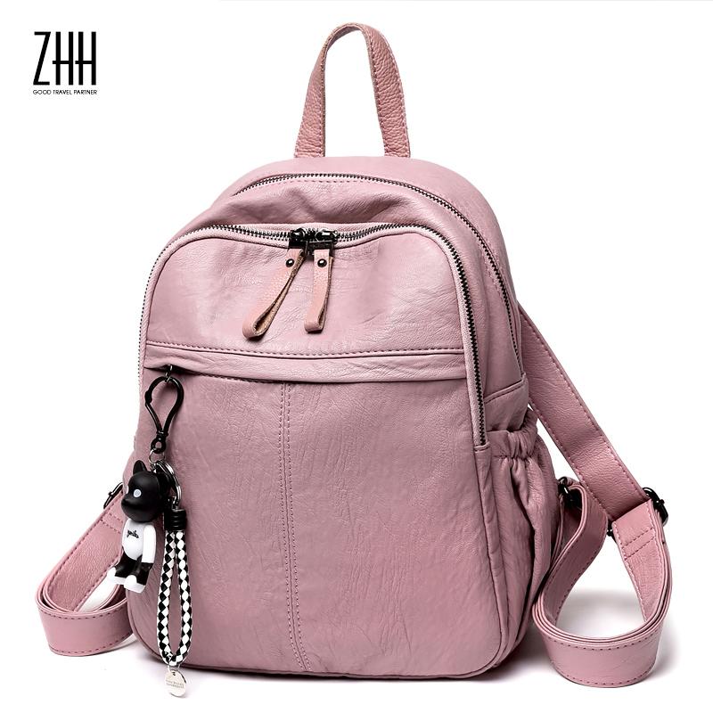 香港ZHH双肩背包女2018新款韩版百搭真皮牛皮时尚女士双肩包软皮