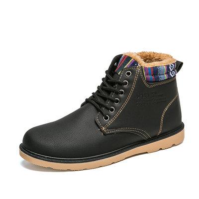 秋冬季加绒保暖棉鞋子韩版潮流板鞋高帮皮鞋男士休闲潮鞋马丁靴子
