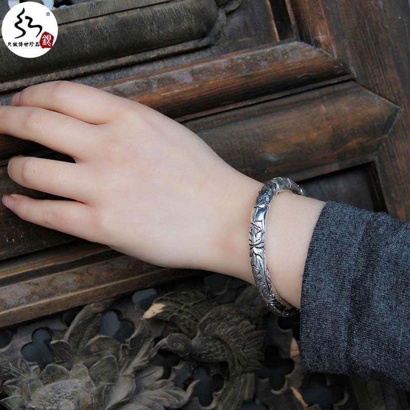 红银爱莲说银手镯 99足银女民族风浮雕银镯子 复古手工实心圆镯