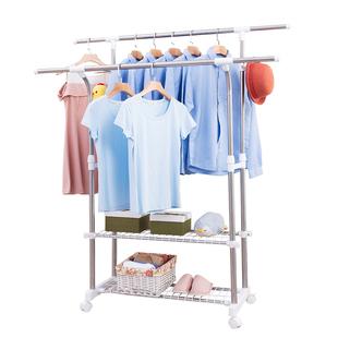 落地折叠室内晒衣架不锈钢双杆式伸缩晾衣架家用卧室可移动衣帽架